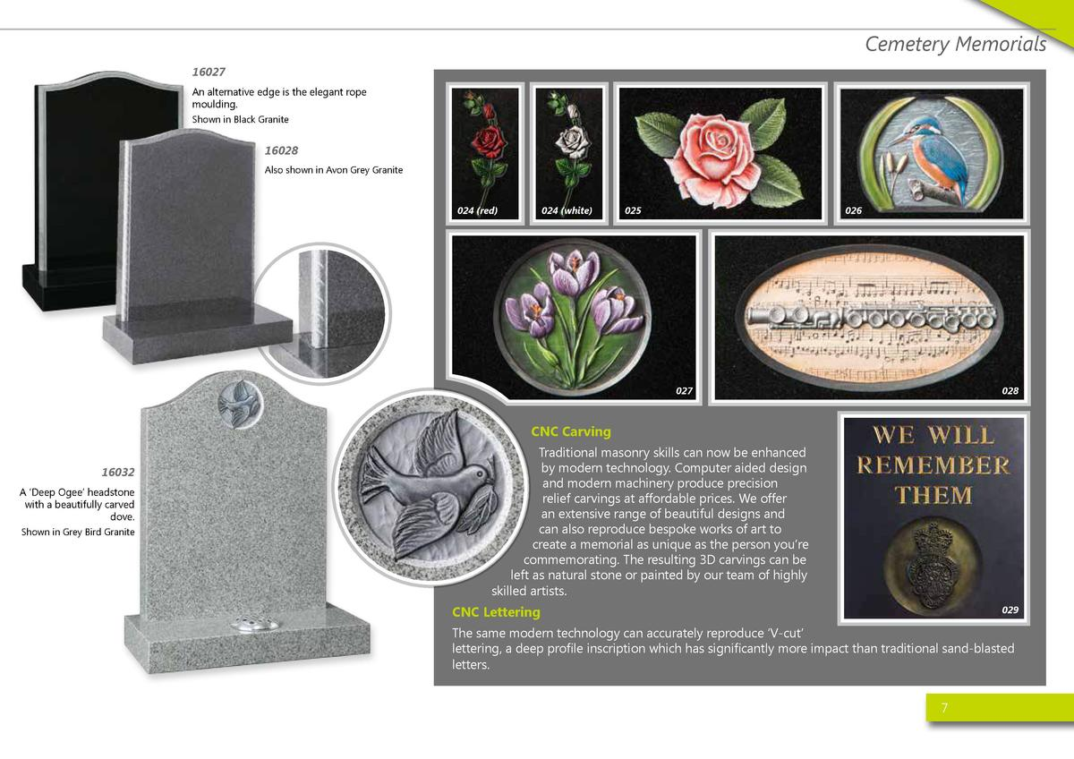 Cemetery Memorials 16027 An alternative edge is the elegant rope moulding. Shown in Black Granite  16028 Also shown in Avo...