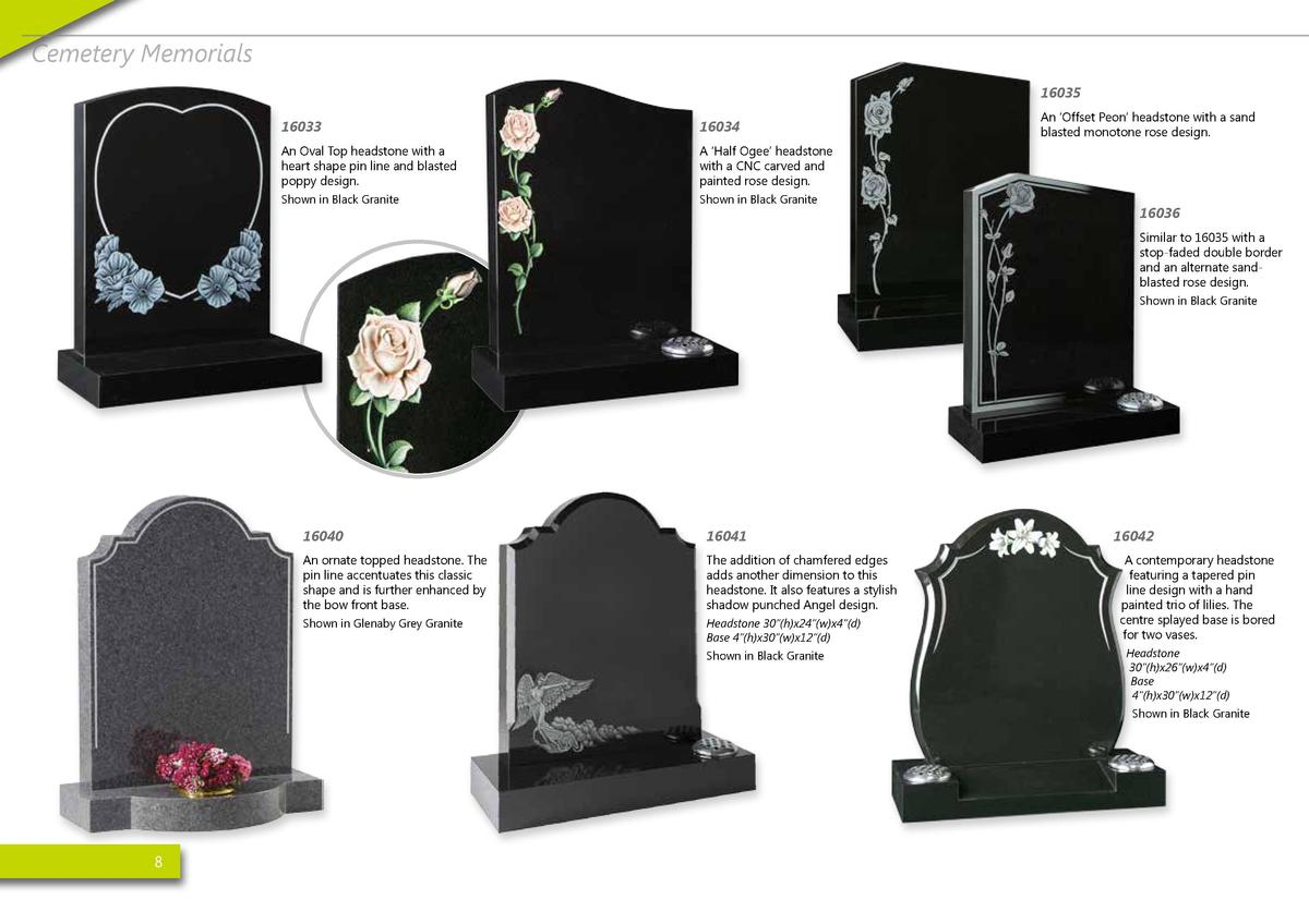 Cemetery Memorials 16035 16033  16034  An Oval Top headstone with a heart shape pin line and blasted poppy design.  A    H...