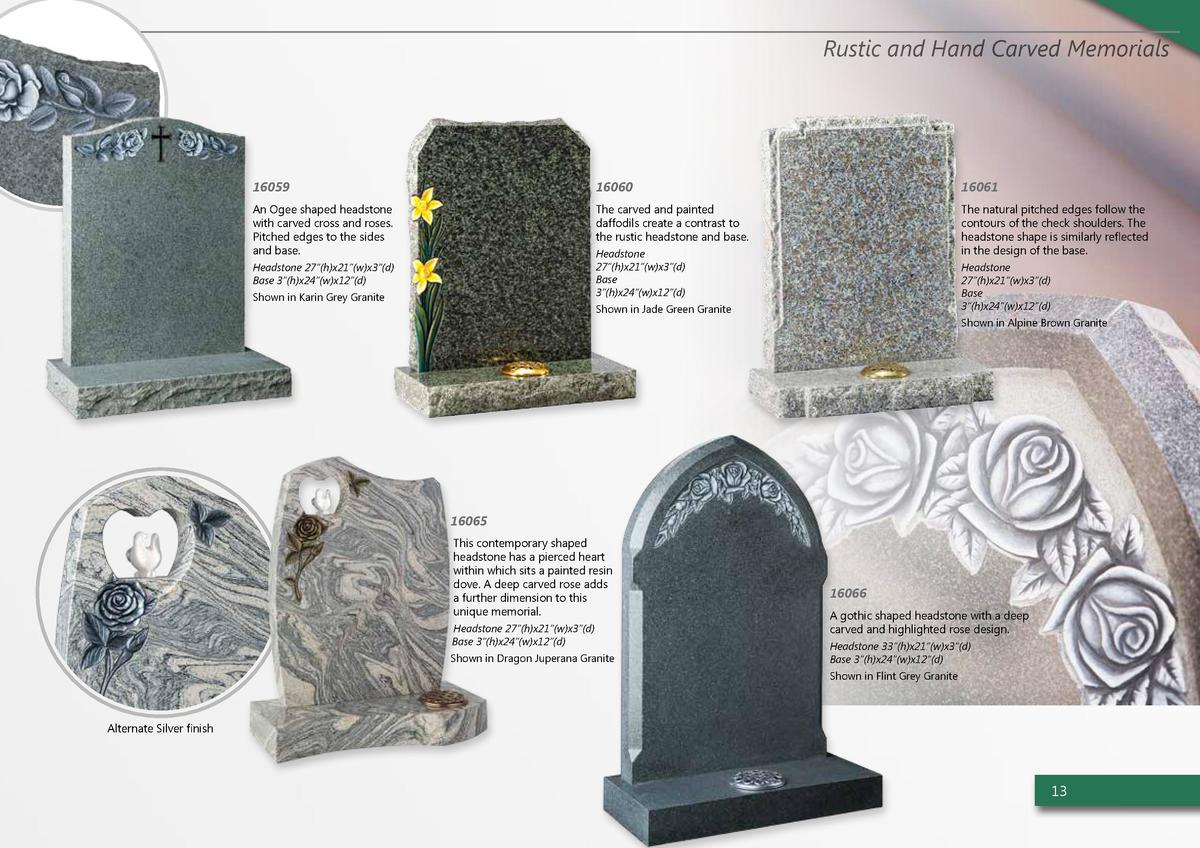 Rustic and Hand Carved Memorials  16059  16060  16061  An Ogee shaped headstone with carved cross and roses. Pitched edges...