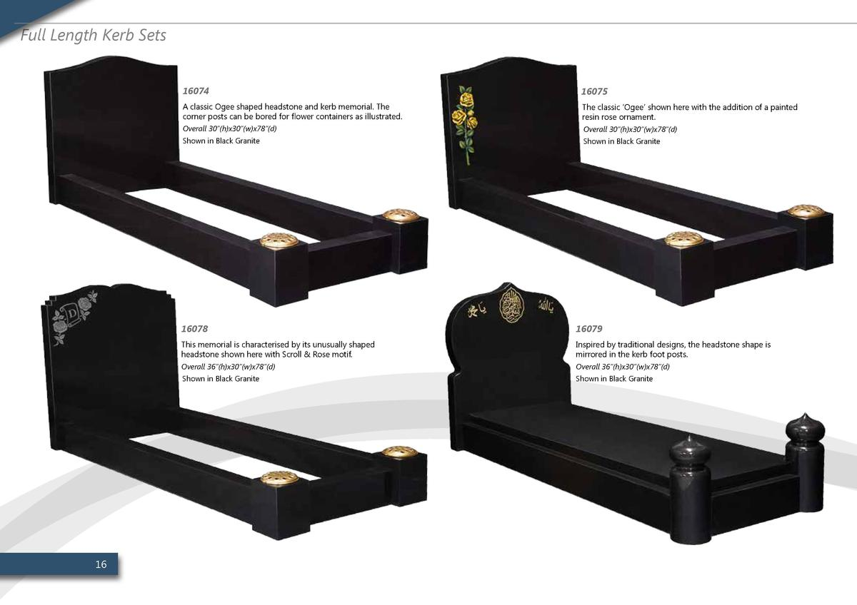 Full Length Kerb Sets  16  16074  16075  A classic Ogee shaped headstone and kerb memorial. The corner posts can be bored ...