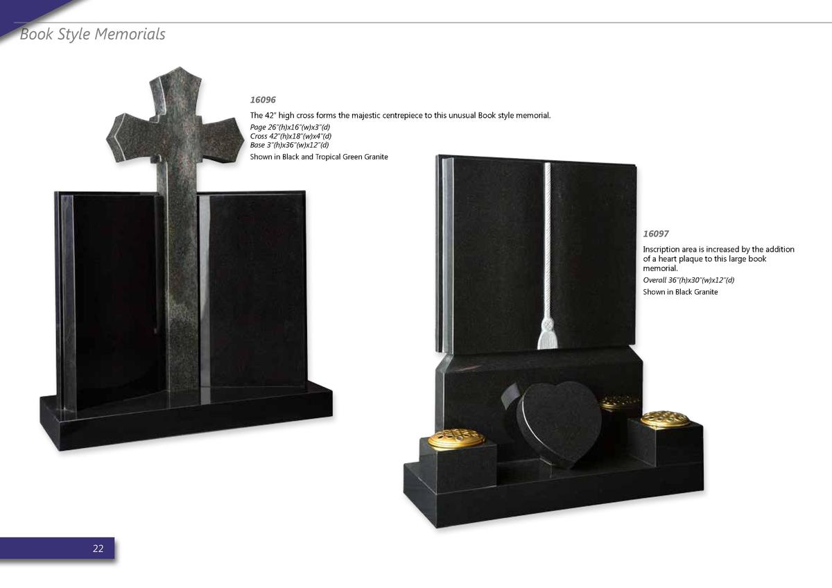 Book Style Memorials  16096 The 42    high cross forms the majestic centrepiece to this unusual Book style memorial. Page ...