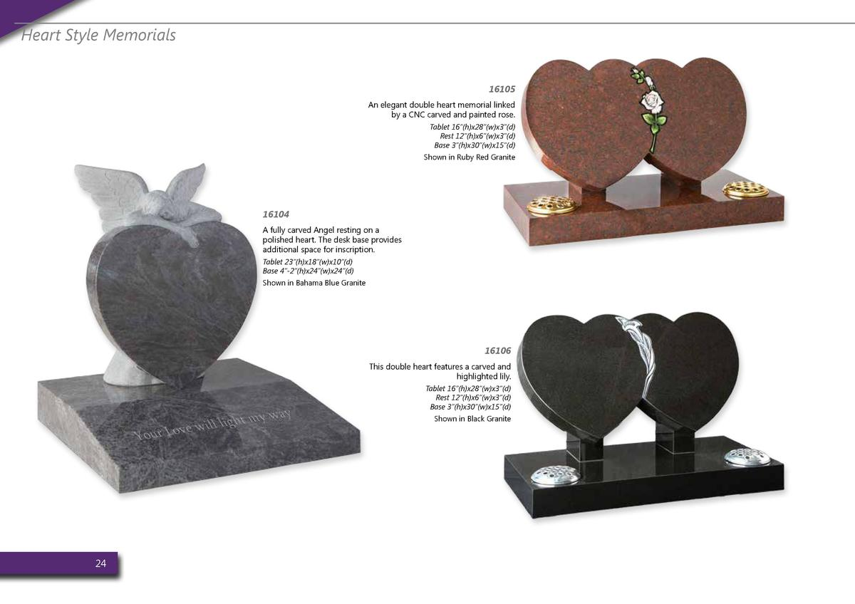 Heart Style Memorials 16105 An elegant double heart memorial linked by a CNC carved and painted rose. Tablet 16    h x28  ...
