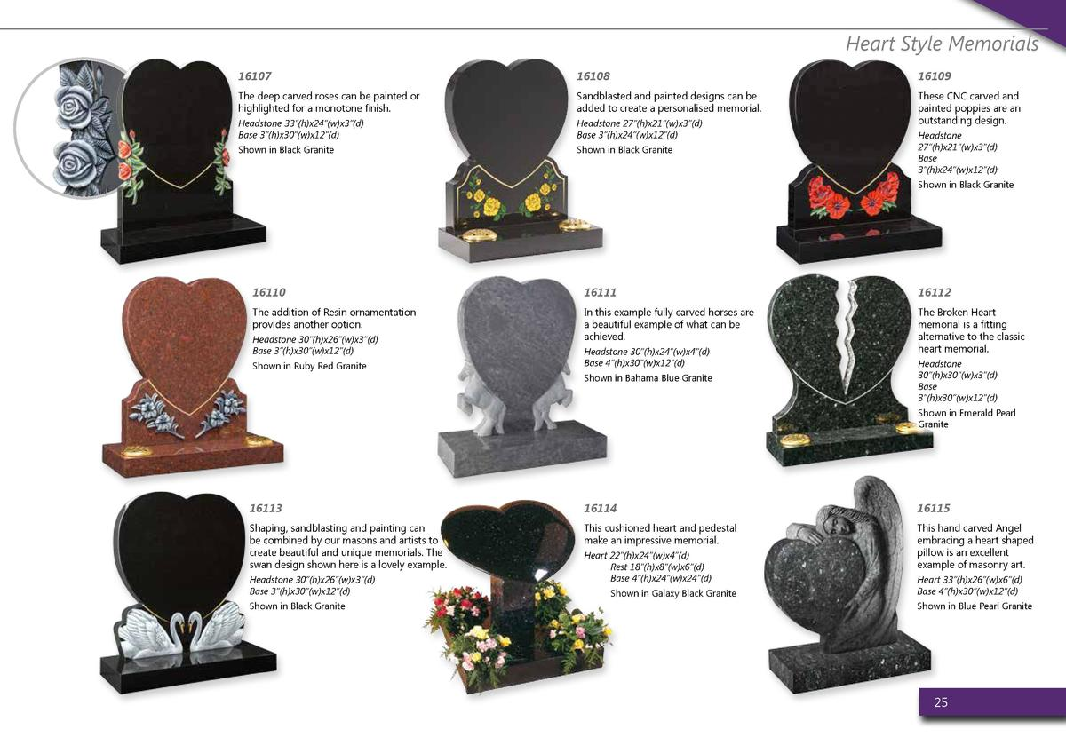 Heart Style Memorials 16107  16108  16109  The deep carved roses can be painted or highlighted for a monotone finish.  San...