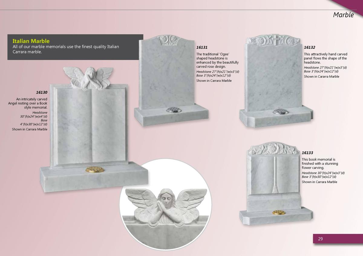 Marble  Italian Marble  All of our marble memorials use the finest quality Italian Carrara marble.  16131  16132  The trad...