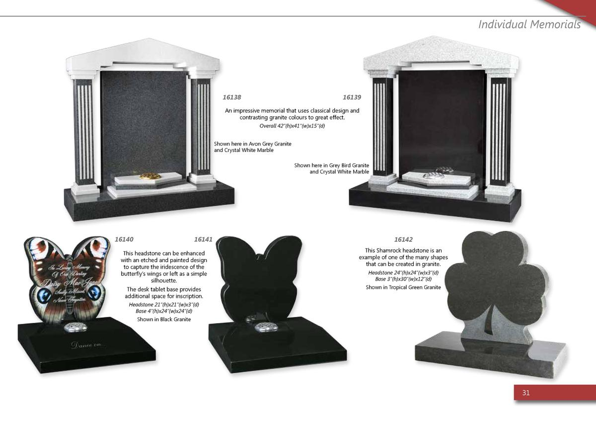 Individual Memorials  16138  16139  An impressive memorial that uses classical design and contrasting granite colours to g...