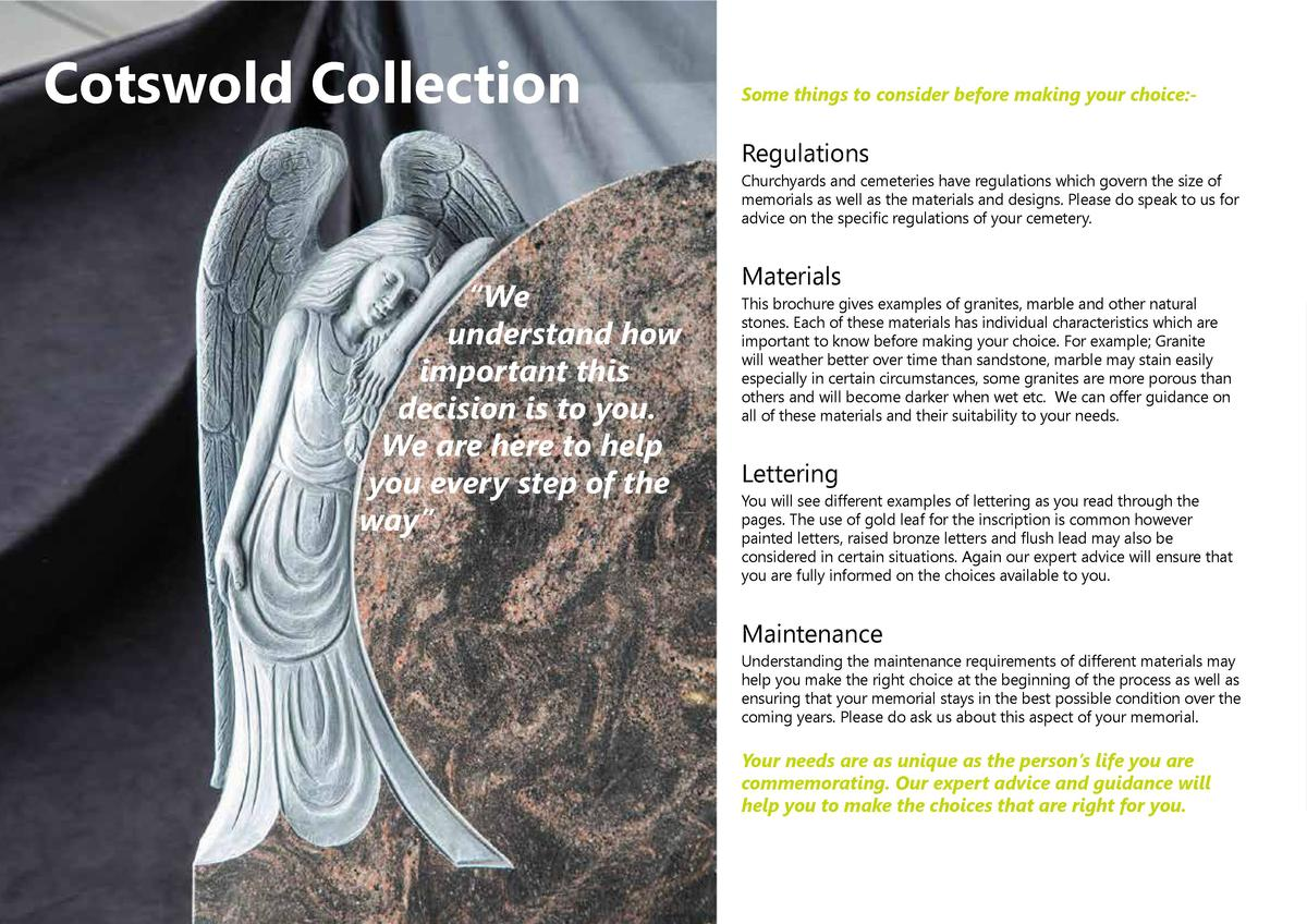 Cotswold Collection  Some things to consider before making your choice -  Regulations Churchyards and cemeteries have regu...
