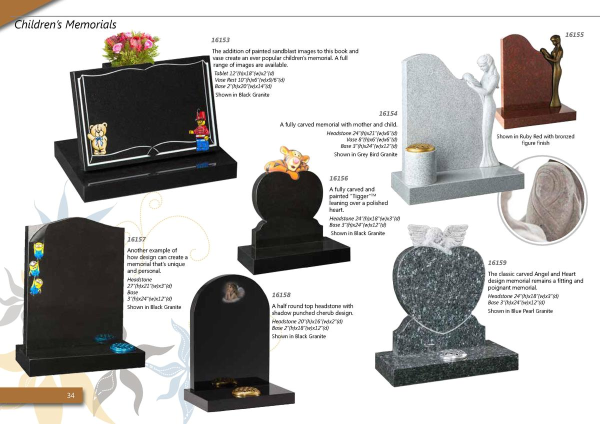 Children   s Memorials  16155  16153 The addition of painted sandblast images to this book and vase create an ever popular...