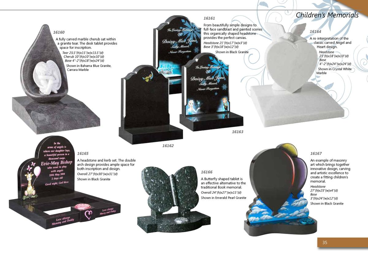 Children   s Memorials  16161 From beautifully simple designs to full-face sandblast and painted scenes this organically s...