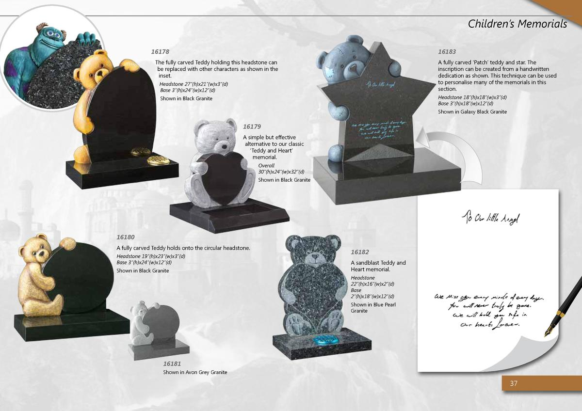 Children   s Memorials 16178  16183  The fully carved Teddy holding this headstone can be replaced with other characters a...