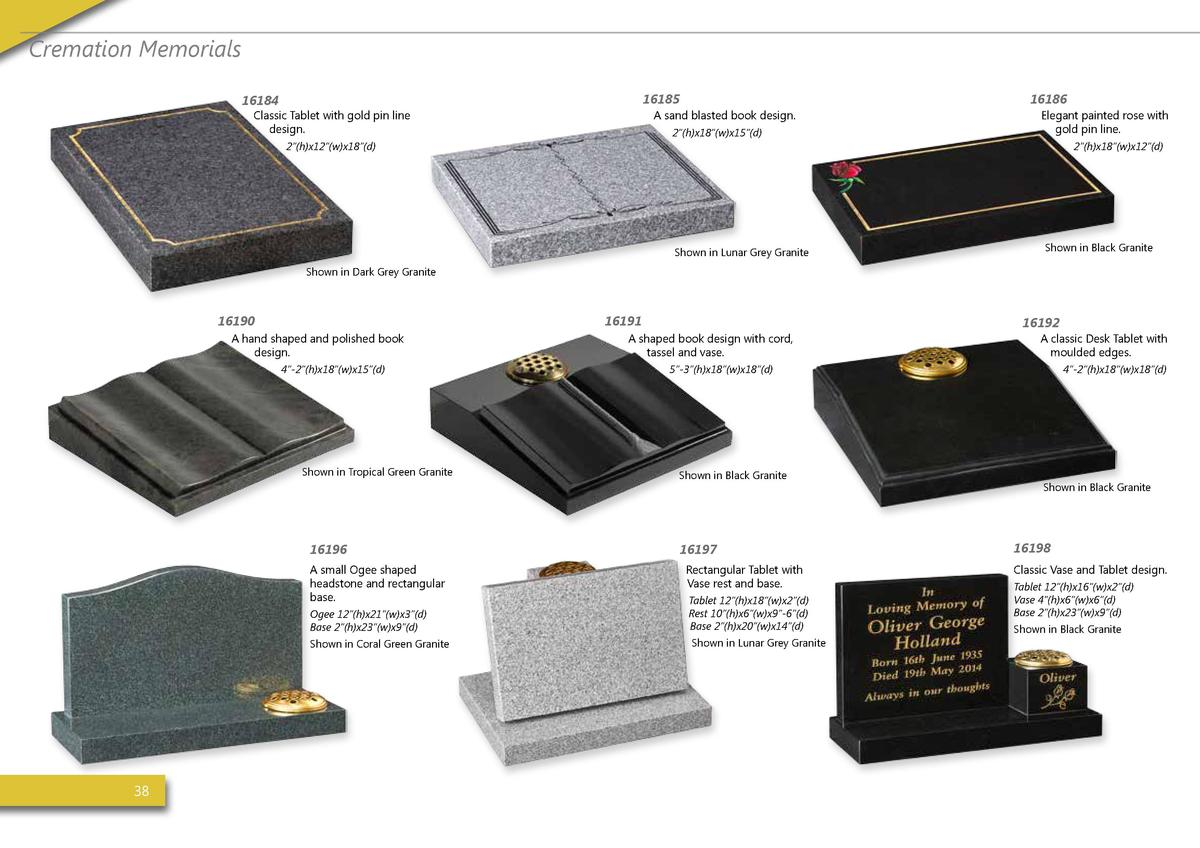 Cremation Memorials 16185  16184  Classic Tablet with gold pin line design.  16186  A sand blasted book design. 2    h x18...