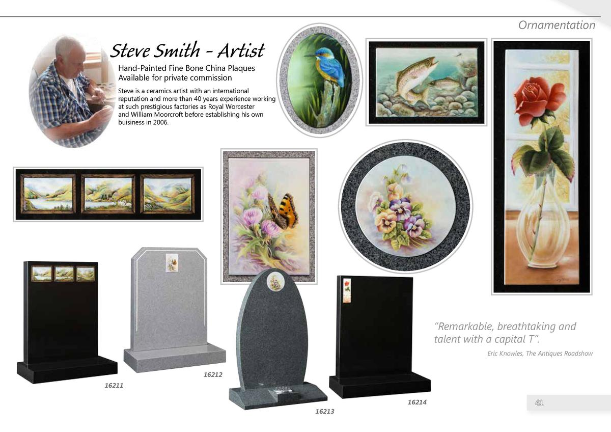 Ornamentation  Steve Smith - Artist Hand-Painted Fine Bone China Plaques Available for private commission  Steve is a cera...