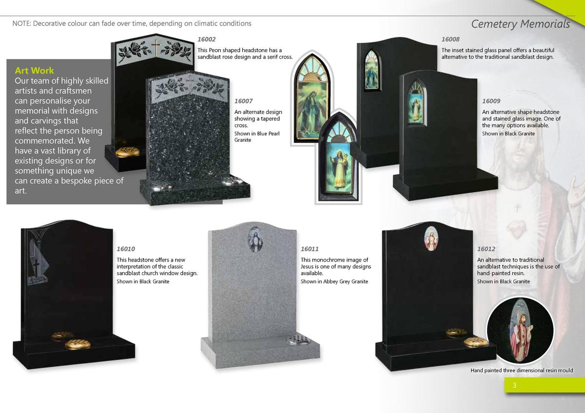 Cemetery Memorials  NOTE  Decorative colour can fade over time, depending on climatic conditions 16002  16008  This Peon s...