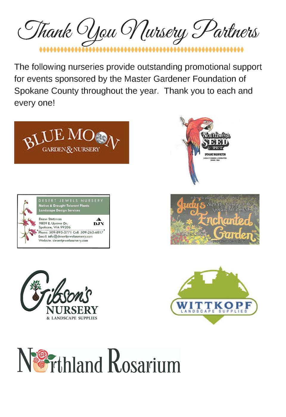 Thank You  Nursery Partners The following nurseries provide outstanding promotional support for events sponsored by the Ma...