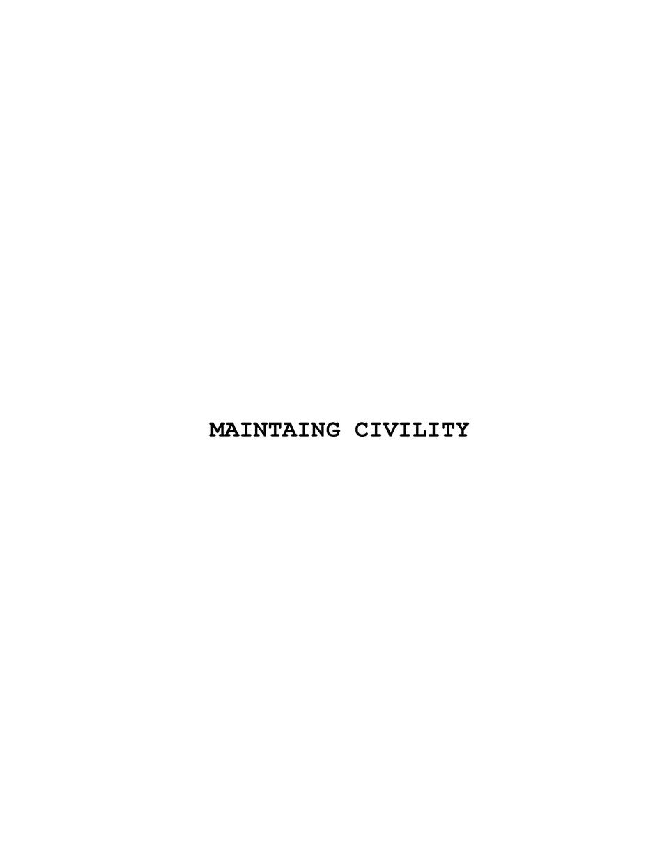 MAINTAING CIVILITY