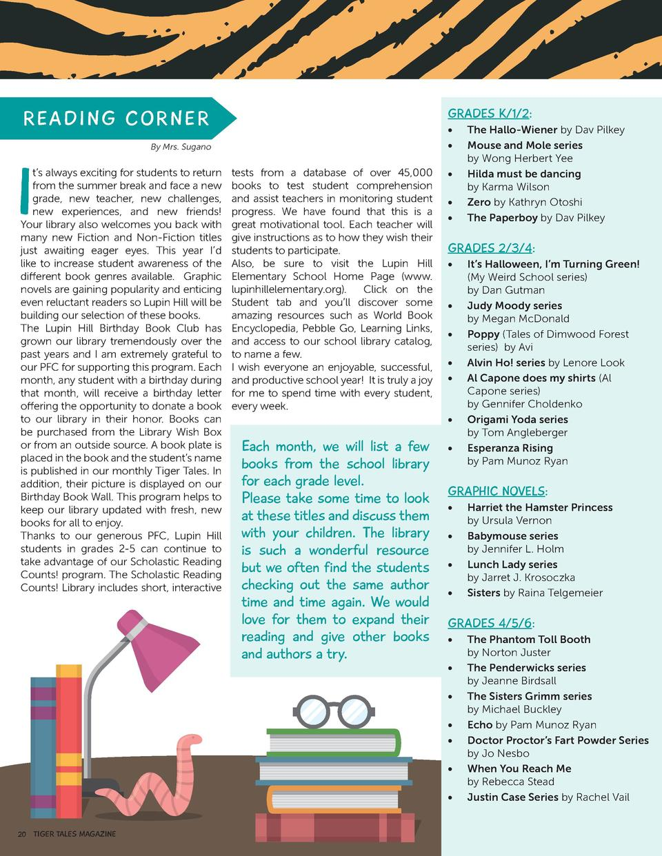 ECONOMY  GRADES K 1 2   READ I NG C OR N ER  I             By Mrs. Sugano  t   s always exciting for students to return fr...