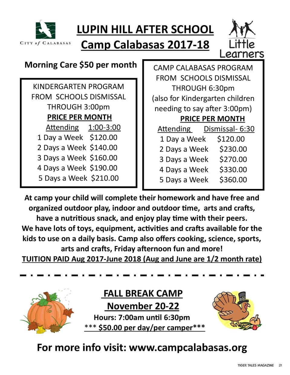 LUPIN HILL AFTER SCHOOL Camp Calabasas 2017-18 Morning Care  50 per month KINDERGARTEN PROGRAM FROM SCHOOLS DISMISSAL THRO...