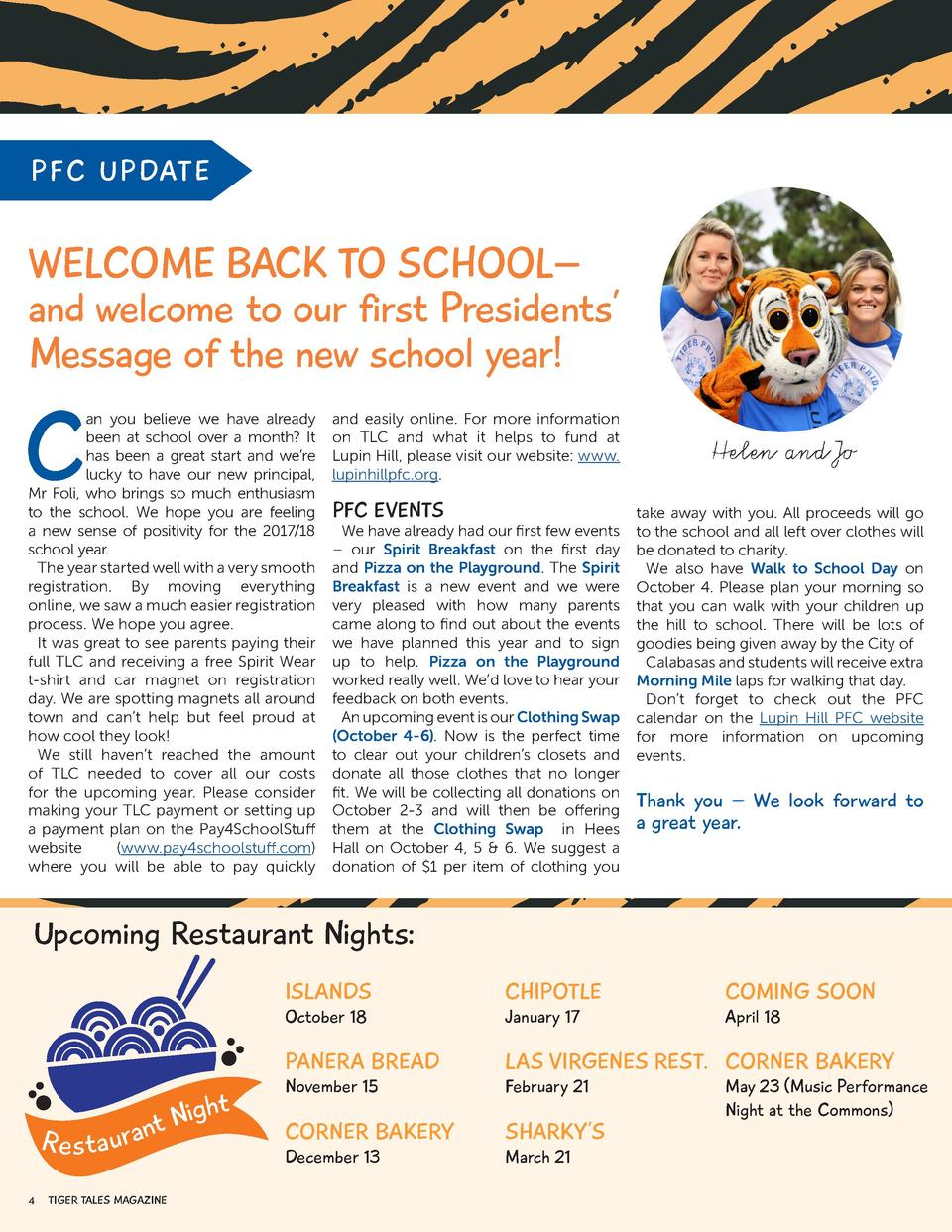 PFC UP DATE  WELCOME BACK TO SCHOOL    and welcome to our first Presidents    Message of the new school year   C  an you b...