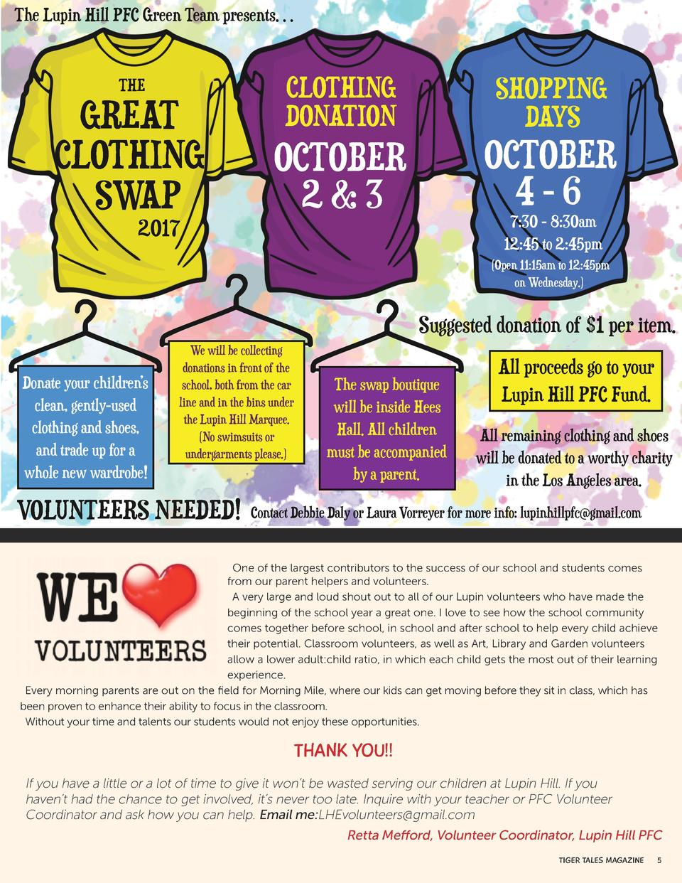 The Lupin Hill PFC Green Team presents     THE  GREAT CLOTHING SWAP  CLOTHING DONATION  SHOPPING DAYS  OCTOBER 2 3  OCTOBE...