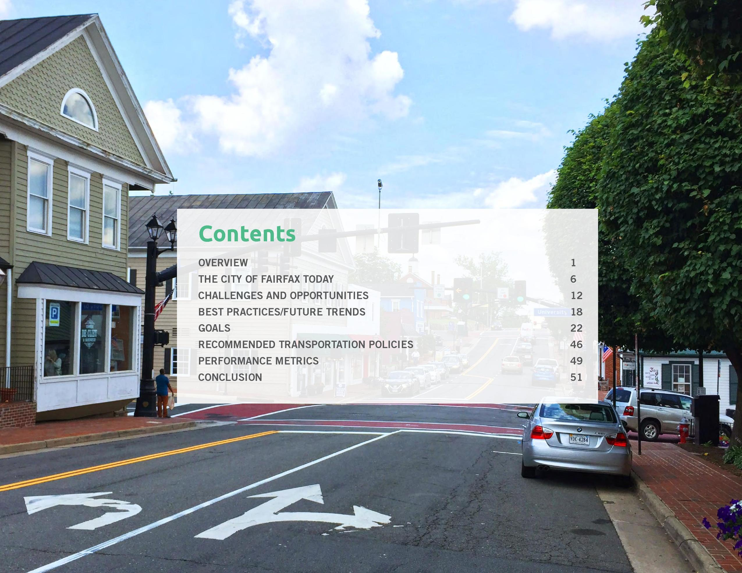 Contents OVERVIEW 1 THE CITY OF FAIRFAX TODAY   6  CHALLENGES AND OPPORTUNITIES   12  BEST PRACTICES FUTURE TRENDS   18  G...