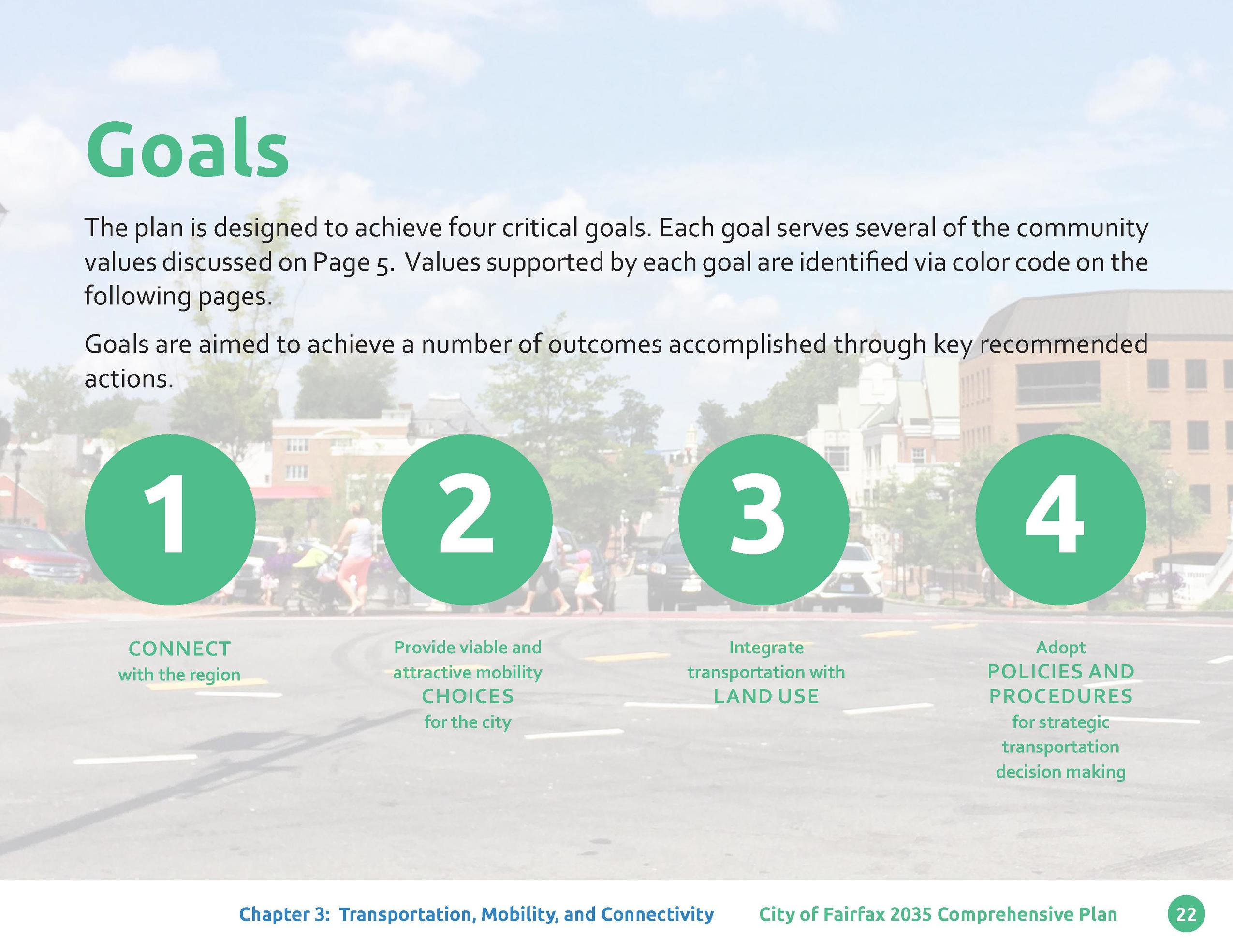 Goals The plan is designed to achieve four critical goals. Each goal serves several of the community values discussed on P...