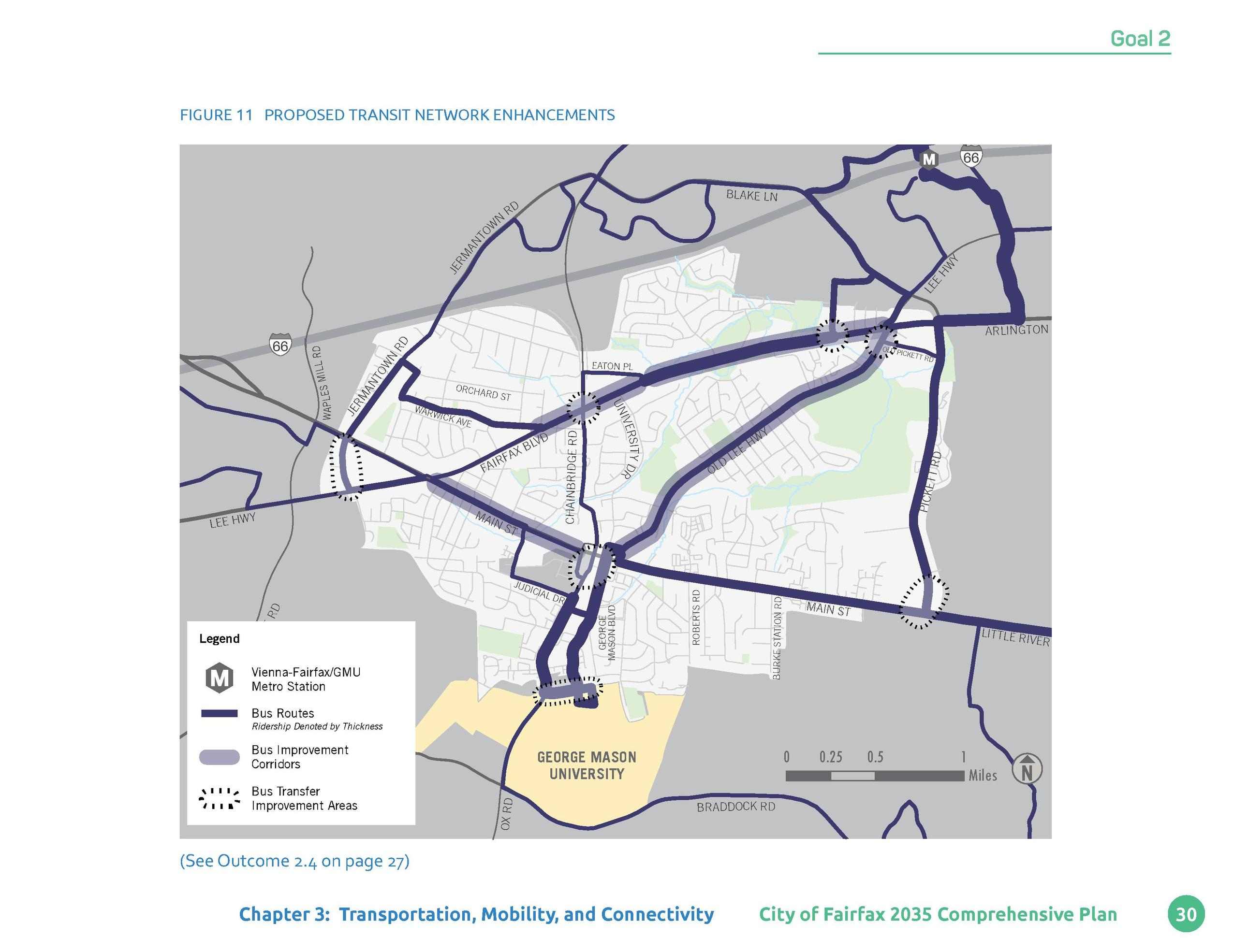 Goal 2     Figure 11 PROPOSED TRANSIT NETWORK ENHANCEMENTS  BLAKE LN  RD  LE E  HW  Y  JE RM AN TO  N W  66  ICKET  EATON ...