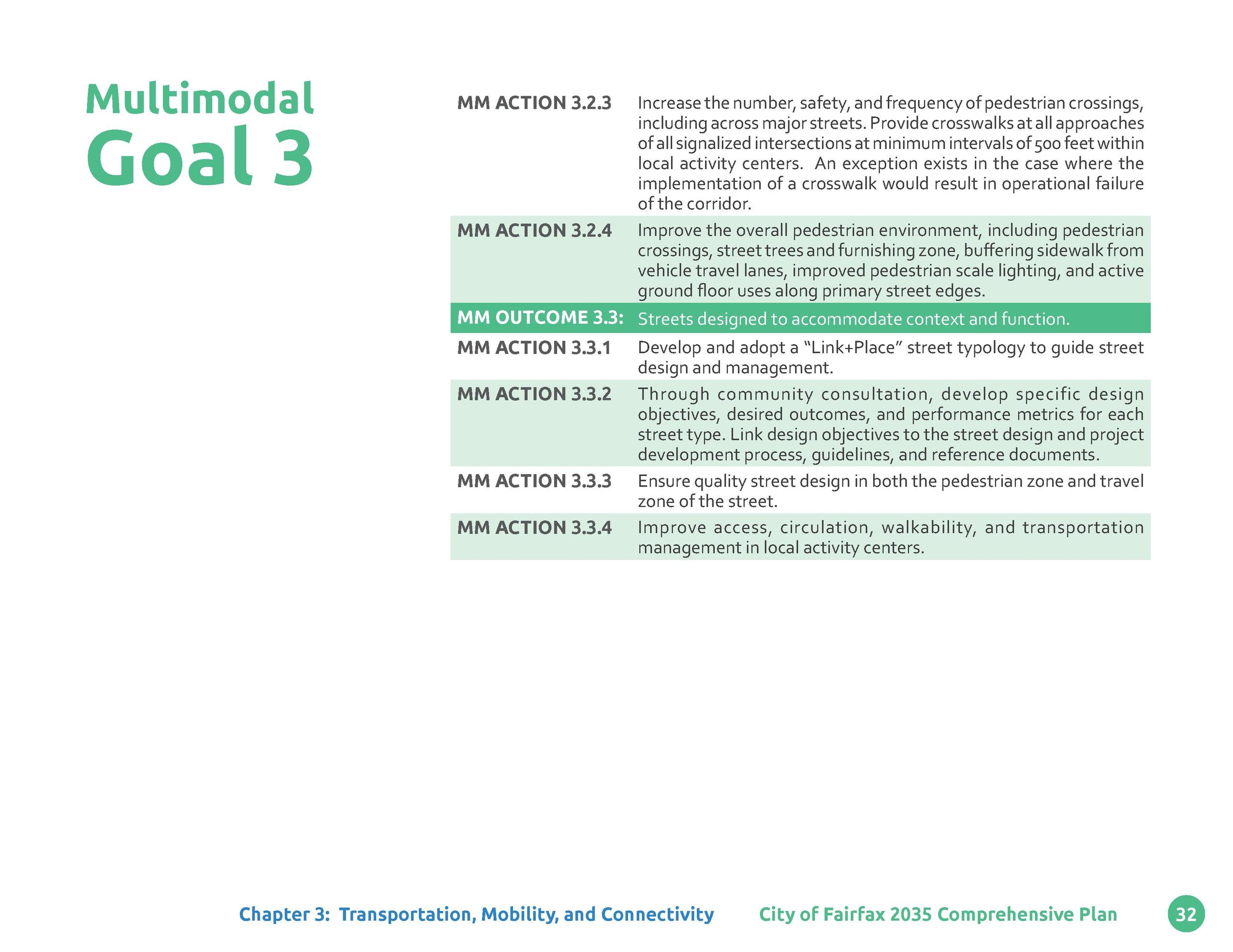 Multimodal  Goal 3  MM ACTION 3.2.3  MM ACTION 3.2.4  Increase the number, safety, and frequency of pedestrian crossings, ...