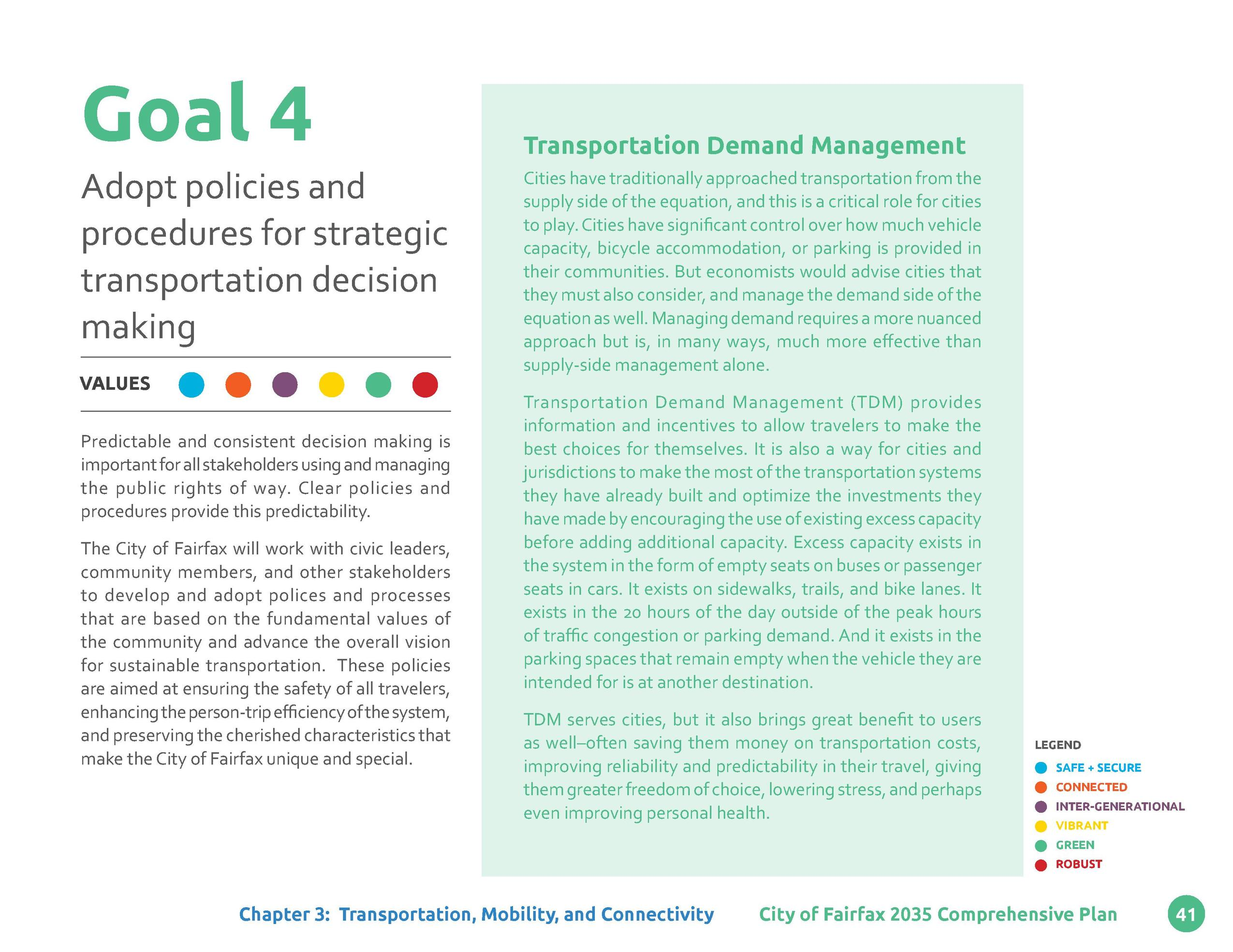 Goal 4 Adopt policies and procedures for strategic transportation decision making VALUES Predictable and consistent decisi...