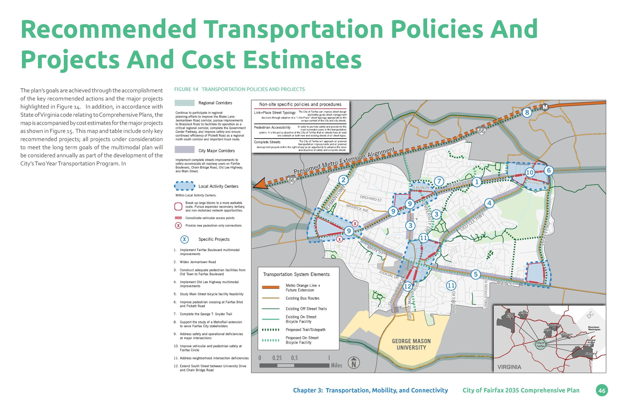 Recommended Transportation Policies And Projects And Cost Estimates Figure 14 TRANSPORTATION POLICIES AND PROJECTS Regiona...