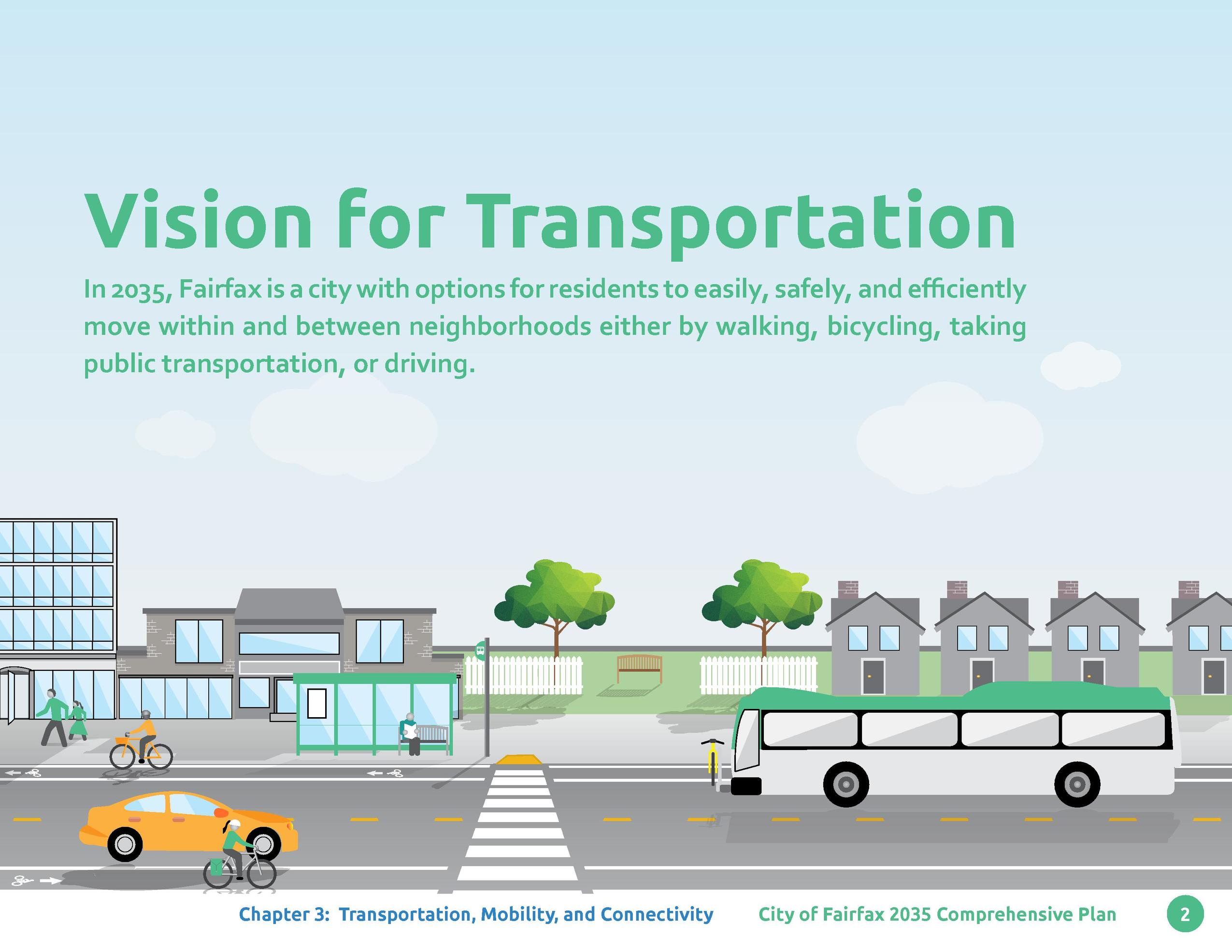 Vision for Transportation In 2035, Fairfax is a city with options for residents to easily, safely, and efficiently move wi...