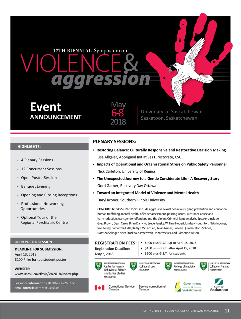 17th Biennial Symposium on  T  VIOLENCE   aggression  he Centre for Forensic Behavioural Science and Justice Studies at th...