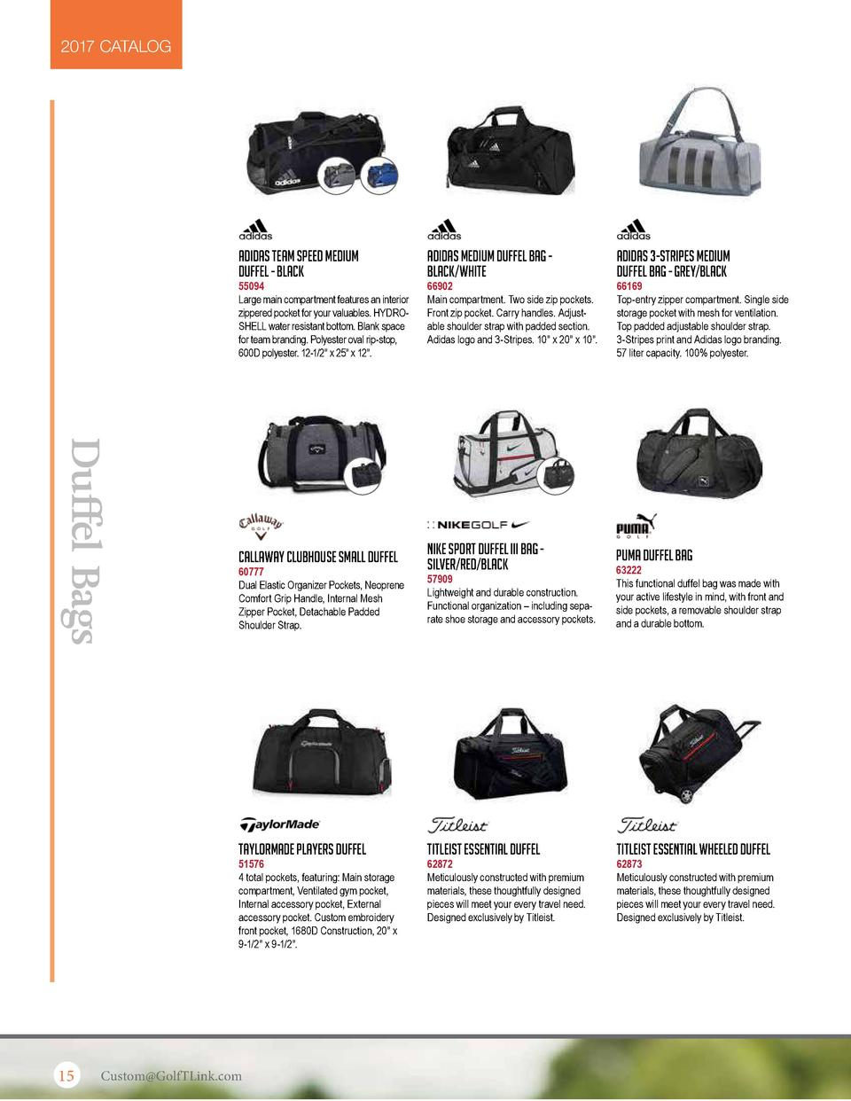 2017 CATALOG  Adidas Team Speed Medium Duffel - Black  Adidas Medium Duffel Bag Black White  Adidas 3-Stripes Medium Duffe...