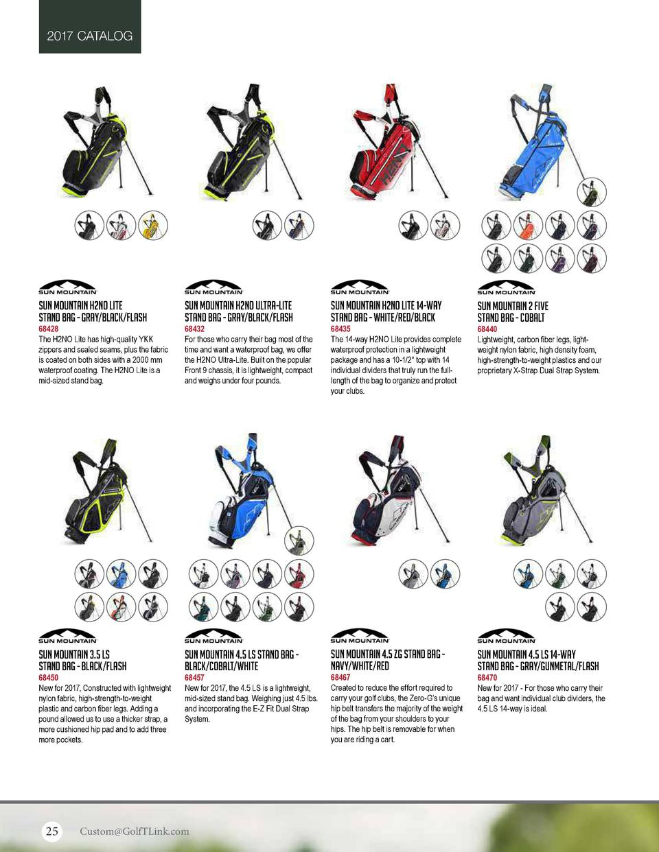 2017 CATALOG  Sun Mountain H2NO Lite Stand Bag - Gray Black Flash  Sun Mountain H2NO Ultra-Lite Stand Bag - Gray Black Fla...