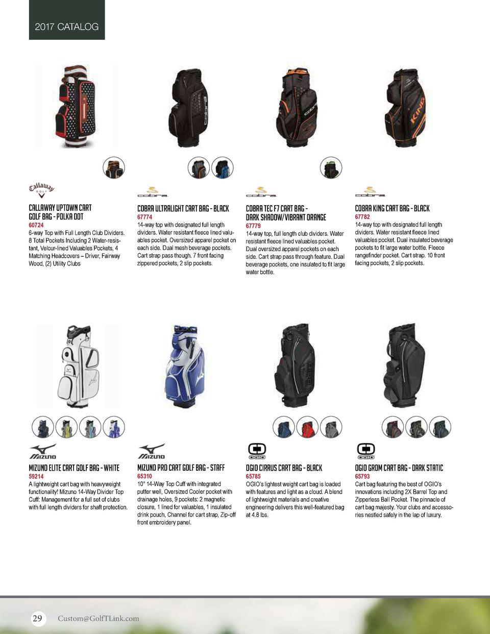 2017 CATALOG  Callaway Uptown Cart Golf Bag - Polka Dot  Cobra Ultralight Cart Bag - Black  60724 6-way Top with Full Leng...