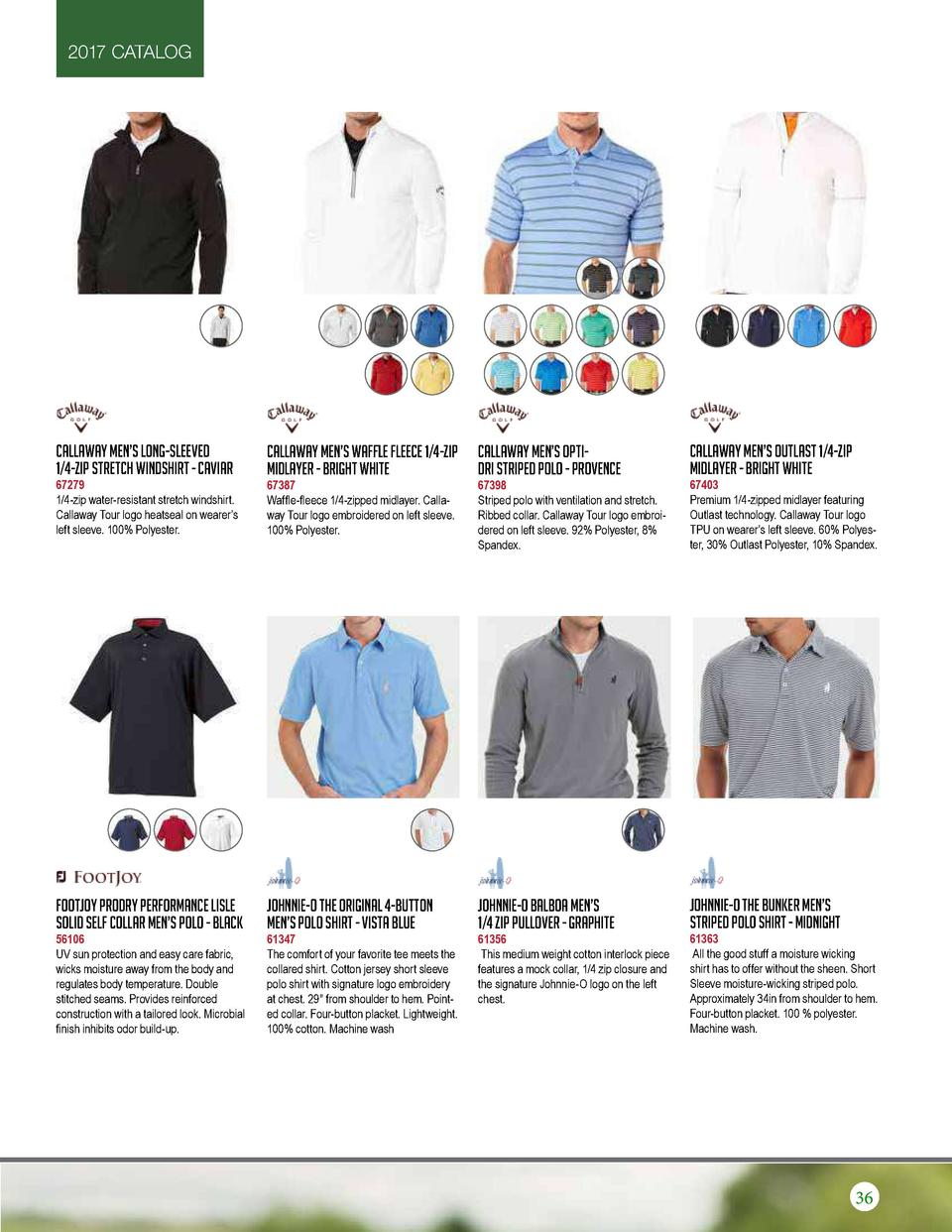 2017 CATALOG  Callaway Men   s Long-Sleeved 1 4-Zip Stretch Windshirt - Caviar  Callaway Men   s Waffle Fleece 1 4-Zip Mid...