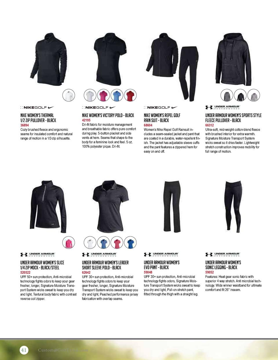 Nike Women   s Thermal 1 2 Zip Pullover - Black  Nike Women   s Victory Polo - Black  36894 Cozy brushed fleece and ergono...
