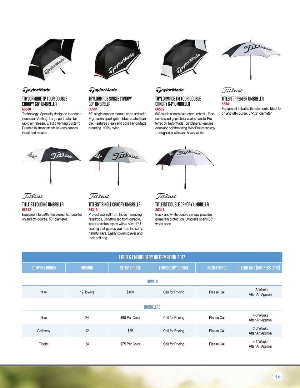 Taylormade TP Tour Double Canopy 68  Umbrella  Taylormade Single Canopy 60  Umbrella  Taylormade TM Tour Double Canopy 64 ...