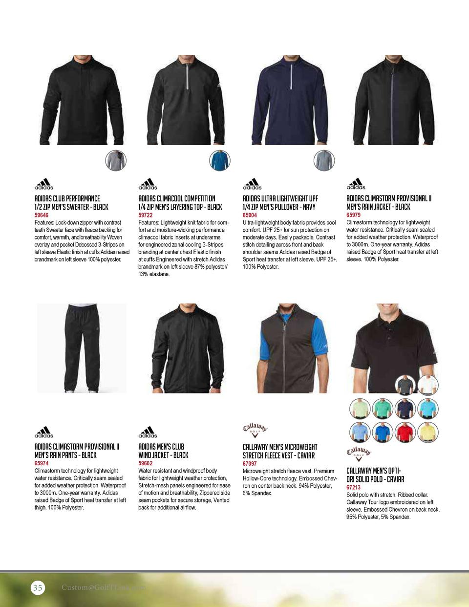 Adidas Club Performance 1 2 Zip Men   s Sweater - Black  Adidas Climacool Competition 1 4 Zip Men   s Layering Top - Black...