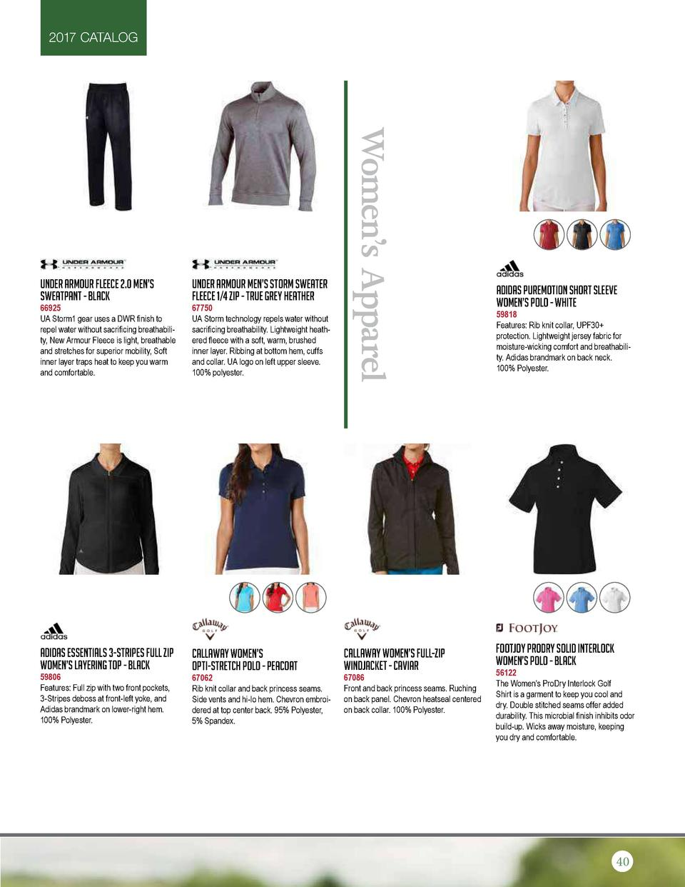 2017 CATALOG  66925 UA Storm1 gear uses a DWR finish to repel water without sacrificing breathability, New Armour Fleece i...