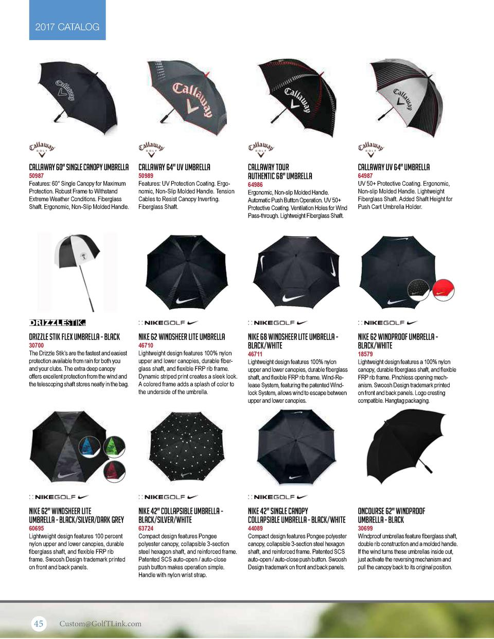 2017 CATALOG  Callaway 60  Single Canopy Umbrella  50987 Features  60  Single Canopy for Maximum Protection. Robust Frame ...