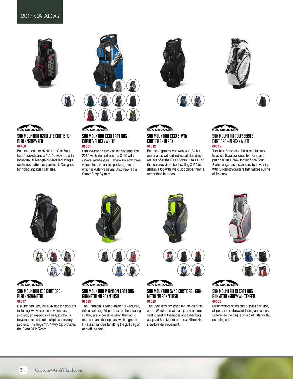 2017 CATALOG  Sun Mountain H2NO Lite Cart Bag Black Gray Red  Sun Mountain C130 Cart Bag Cobalt Black White  Sun Mountain ...