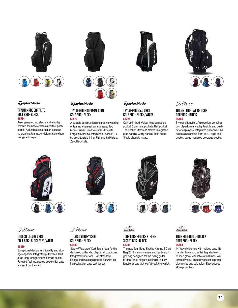 TaylorMade Cart Lite Golf Bag - Black  TaylorMade Supreme Cart Golf Bag - Black  TaylorMade 5.0 Cart Golf Bag - Black Whit...