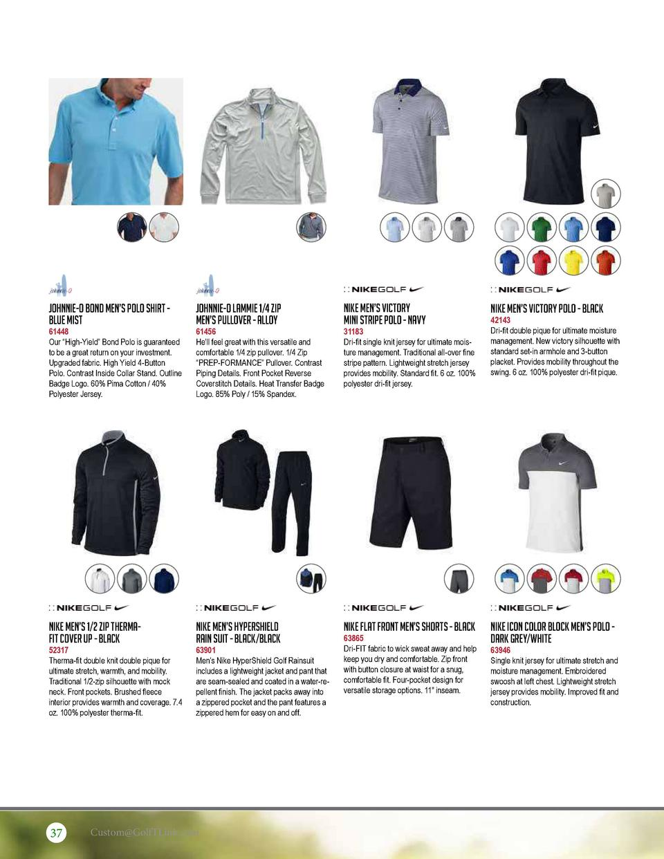 Johnnie-O Bond Men   s Polo Shirt Blue Mist  Johnnie-O Lammie 1 4 Zip Men   s Pullover - Alloy  Nike Men   s Victory Mini ...