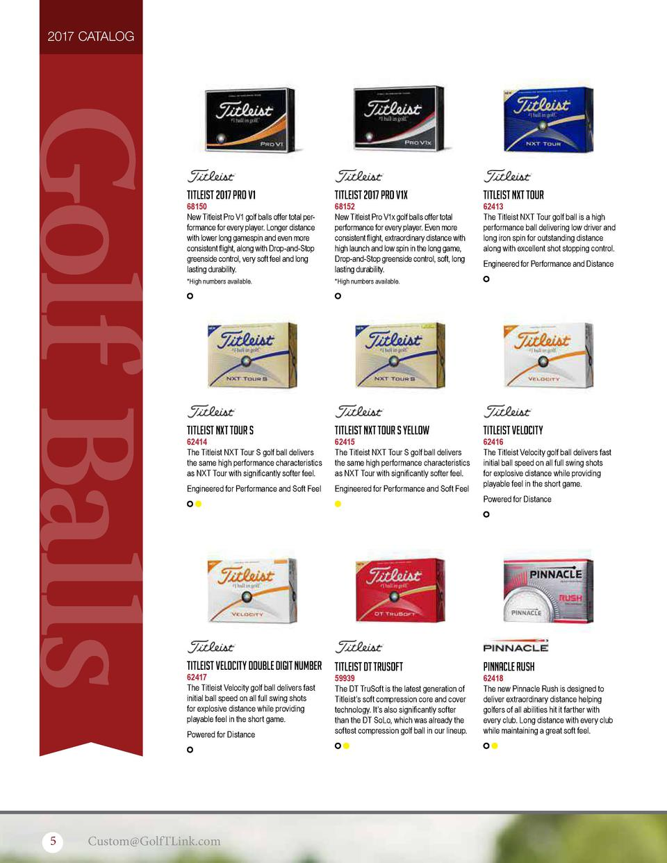 2017 CATALOG  Golf Balls  Titleist 2017 Pro V1  68150 New Titleist Pro V1 golf balls offer total performance for every pla...