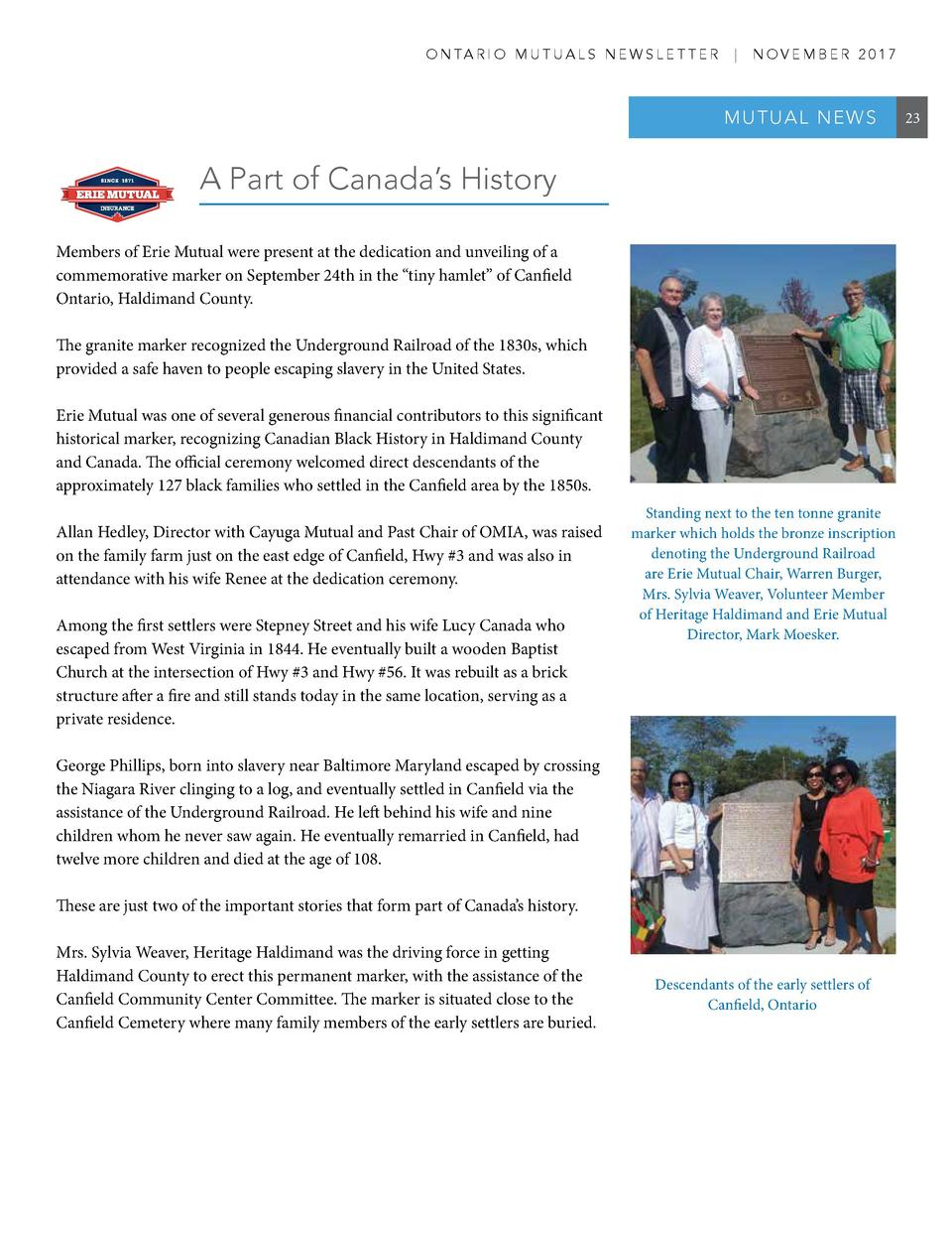 O N TA R I O M U T U A L S N E W S L E T T E R     NOVEMBER 2017  MUT UA L NE W S  A Part of Canada   s History Members of...