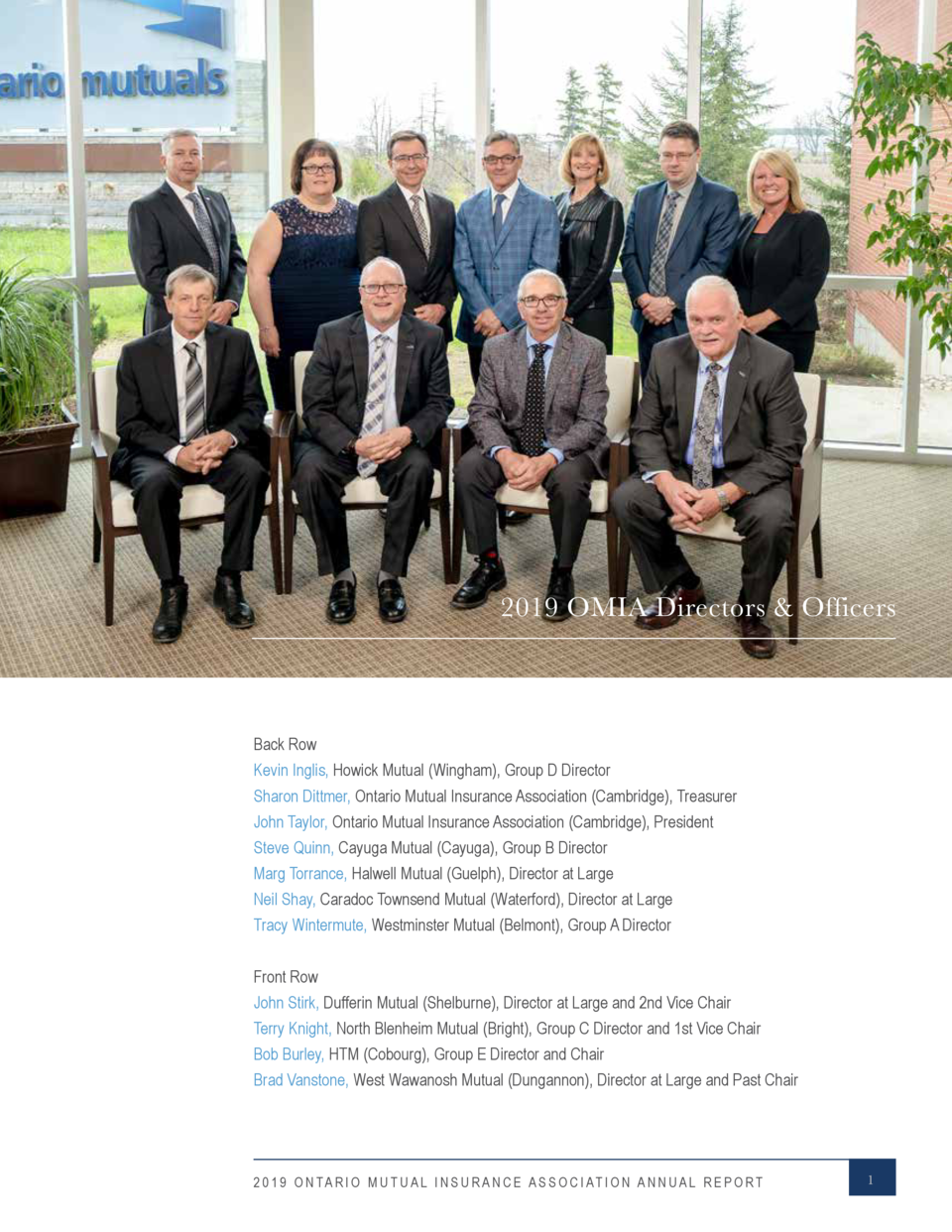 2019 OMIA Directors   Officers  Back Row Kevin Inglis, Howick Mutual  Wingham , Group D Director Sharon Dittmer, Ontario M...