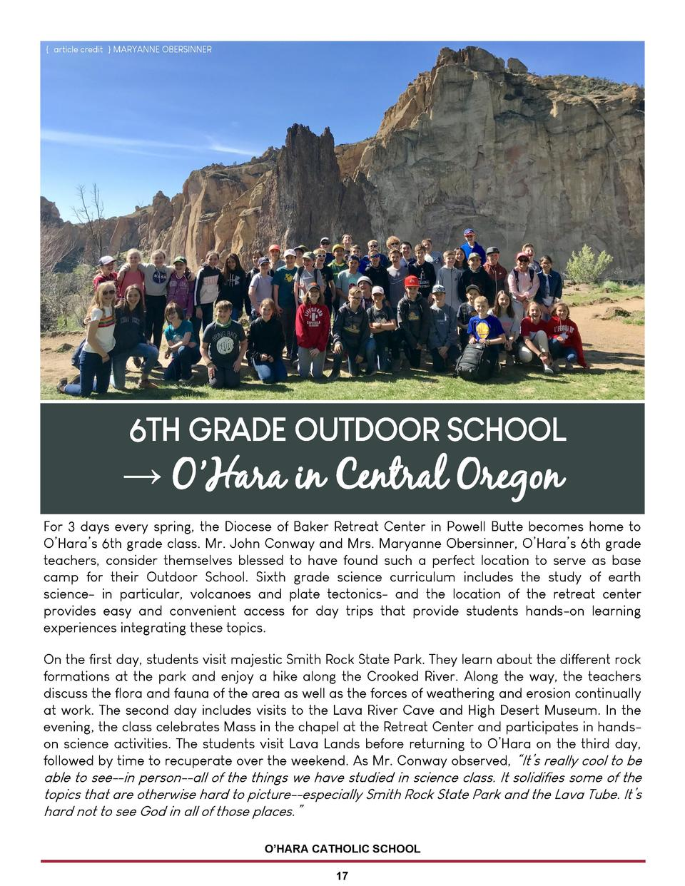 article credit   MARYANNE OBERSINNER  6TH GRADE OUTDOOR SCHOOL      O   Hara in Central Oregon For 3 days every spring, ...