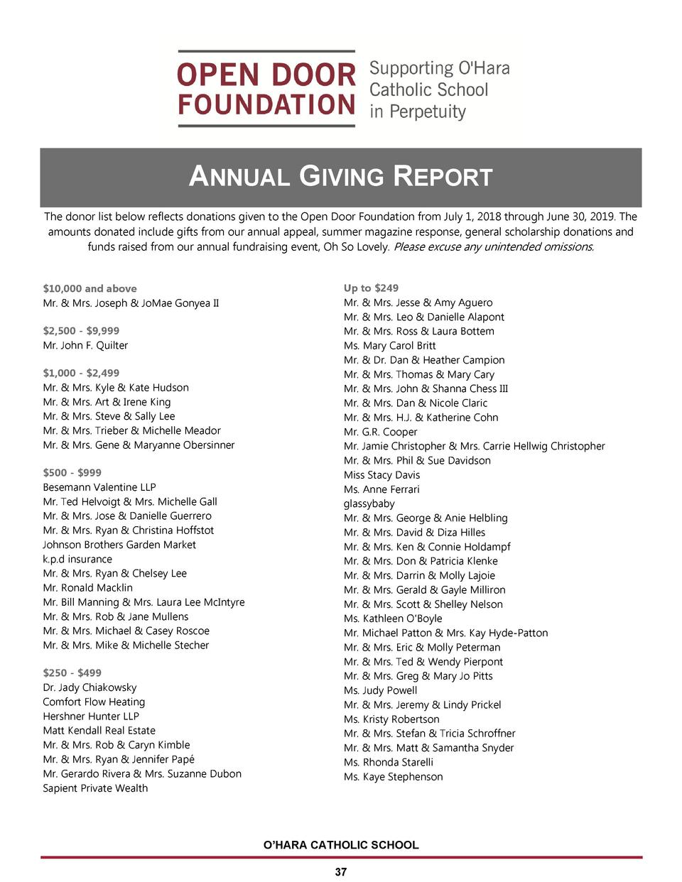 ANNUAL GIVING REPORT The donor list below reflects donations given to the Open Door Foundation from July 1, 2018 through J...