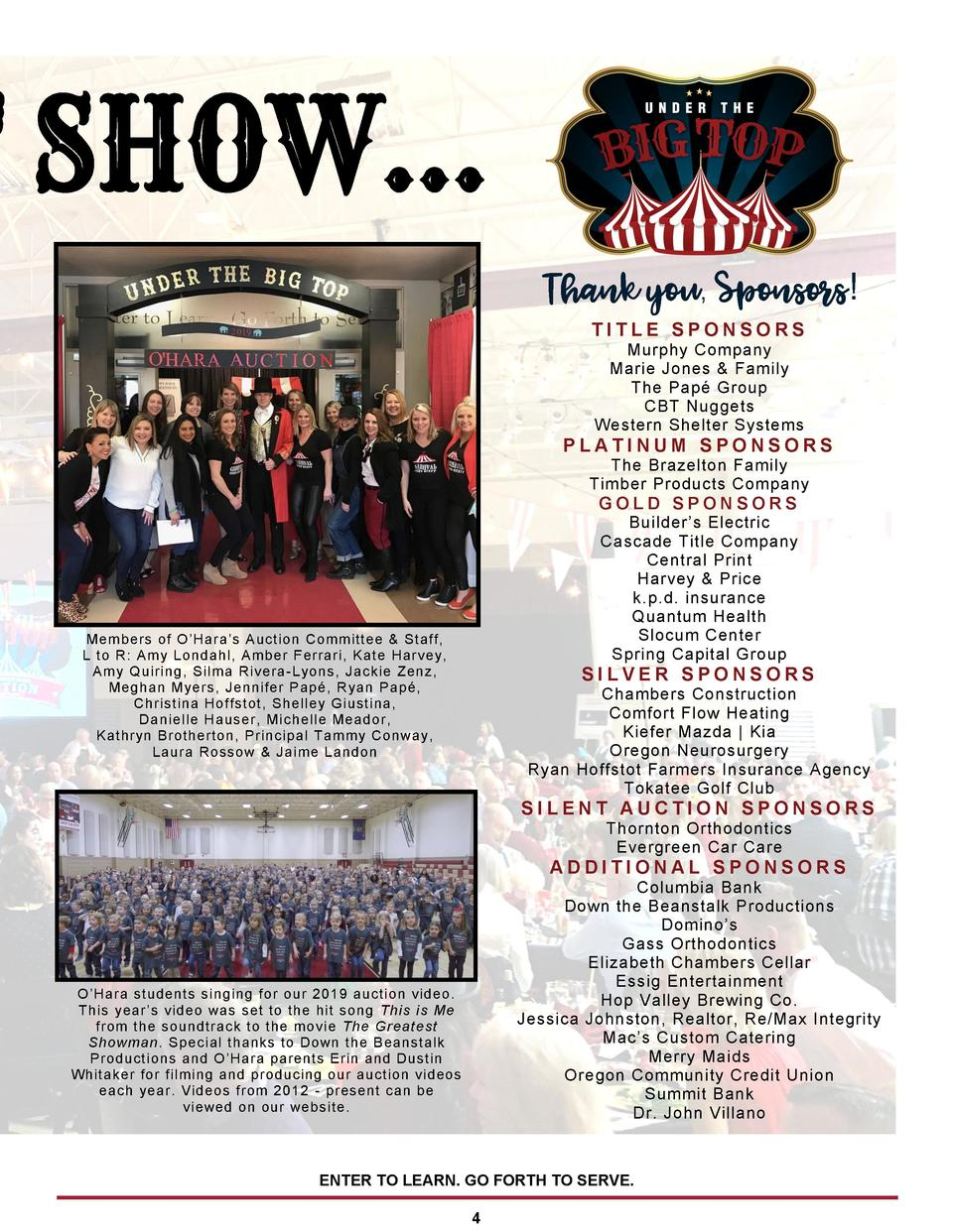 Thank you, Sponsors  TITLE SPONSORS Murphy Company Marie Jones   Family The Pap   Group CBT Nuggets Western Shelter System...