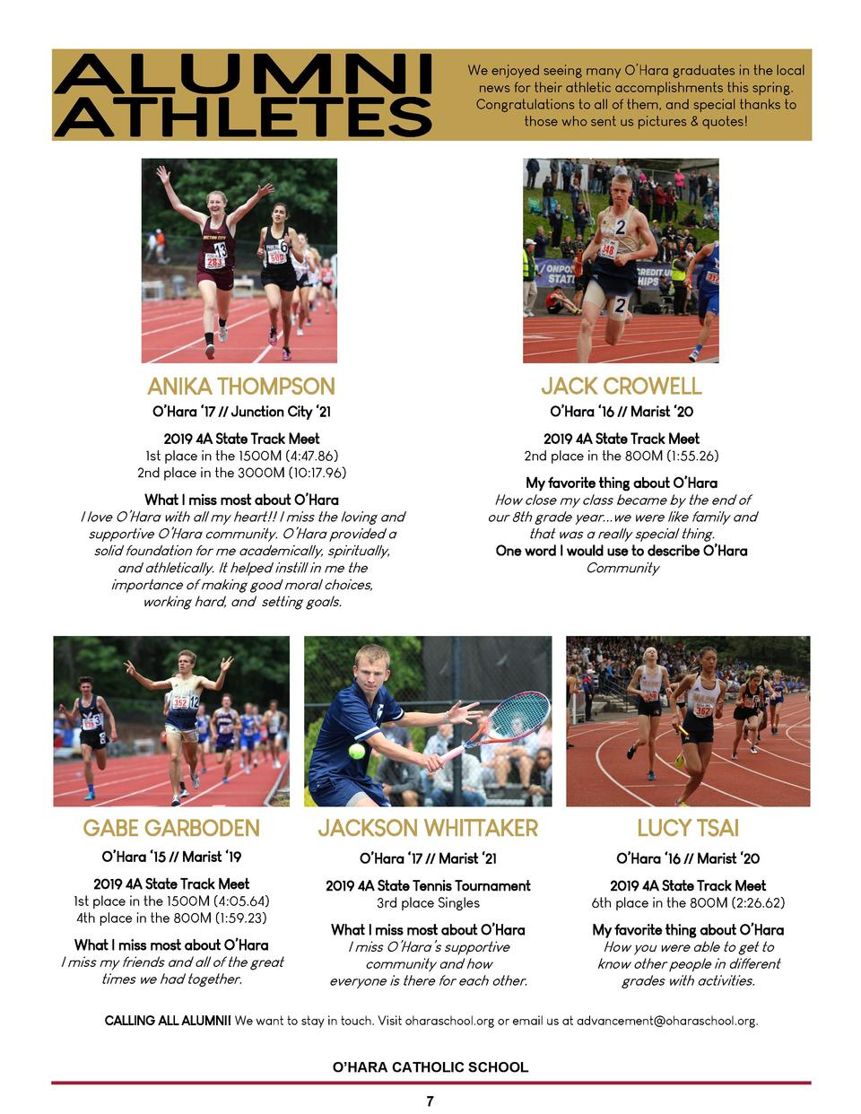 We enjoyed seeing many O   Hara graduates in the local news for their athletic accomplishments this spring. Congratulation...