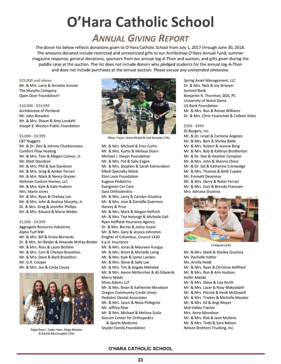 O   Hara Catholic School ANNUAL GIVING REPORT The donor list below reflects donations given to O   Hara Catholic School fr...